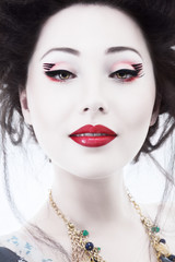 Fototapeta Orientalny Young woman with classic japan style makeup