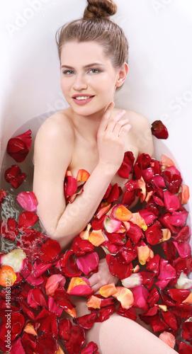 Fototapeta Beautiful young woman taking bath at home obraz na płótnie
