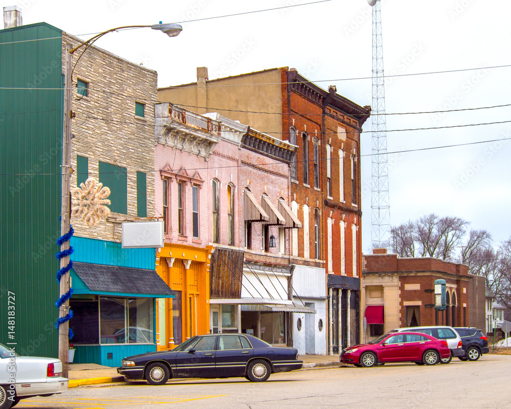 Fototapety, obrazy: Small town business storefronts main street USA