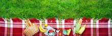 Basket Food Fruit Check Plaid Picnic Background
