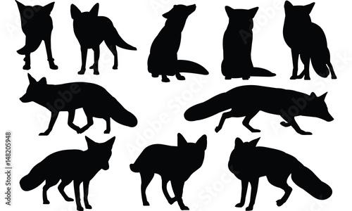 Fox Silhouette vector illustration Tablou Canvas