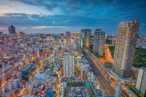 Foto auf AluDibond Tokio Tokyo. Cityscape image of Tokyo, Japan during sunset.