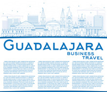 Outline Guadalajara Skyline With Blue Buildings And Copy Space.