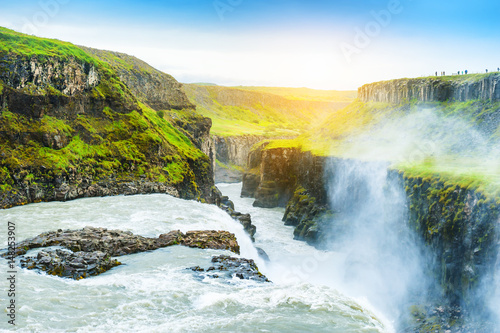 Beautiful and famous Gullfoss waterfall in Iceland.