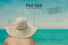 Vintage Summer Postcard. Girl ...