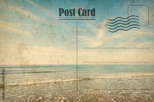 Fotografía  Vintage summer postcard. Ocean and sunny beach