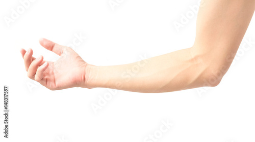 Foto Man arm with blood veins on white background, health care and medical concept