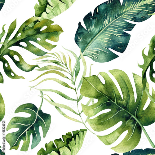 Plissee mit Motiv - Seamless watercolor pattern of tropical leaves, dense jungle. Ha (von kris_art)