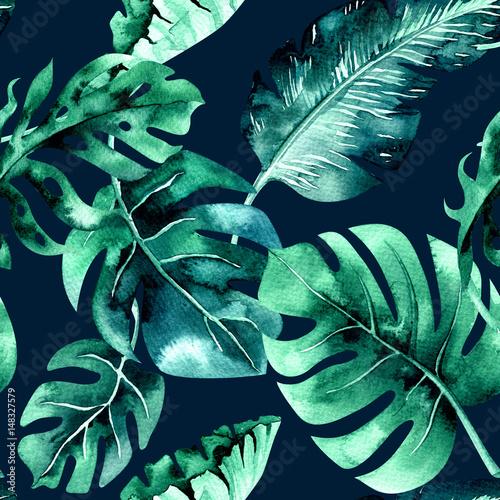 Plissee mit Motiv - Seamless watercolor pattern of tropical leaves, dense jungle. Ha (von kris_art)