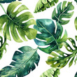 canvas print picture Seamless watercolor pattern of tropical leaves, dense jungle. Ha