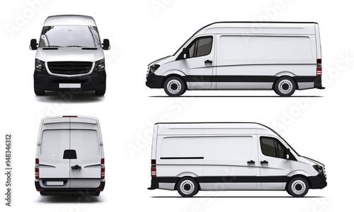 Fotografie, Obraz  Vier Ansichten eines weißen Transporters