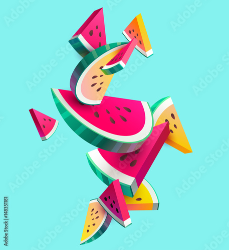 Fresh sliced ​​watermelon fruit on bright background - 148351181