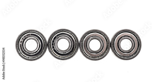 New replacement Roller Skate Bearings isolated on white background. - 148352534
