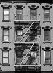 New York city typical emergency exit, black and white