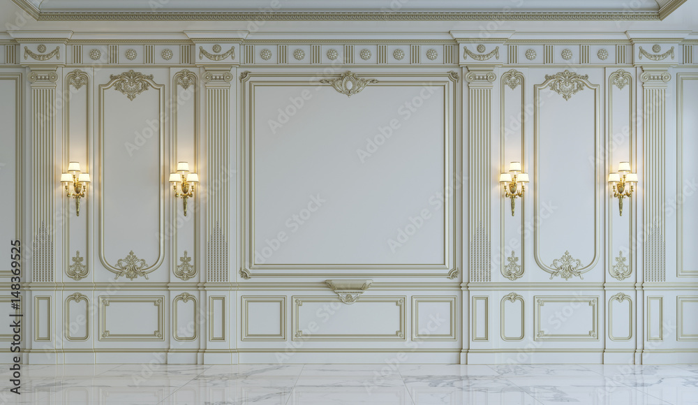 Fototapety, obrazy: White wall panels in classical style with gilding. 3d rendering