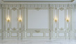 canvas print picture - White wall panels in classical style with gilding. 3d rendering