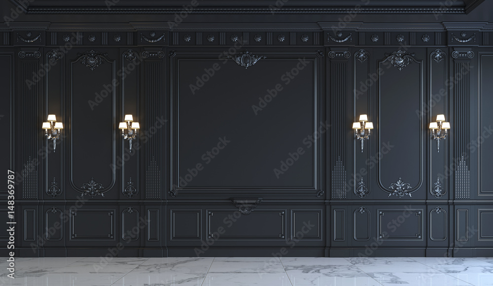 Fototapety, obrazy: Black wall panels in classical style with silvering. 3d rendering