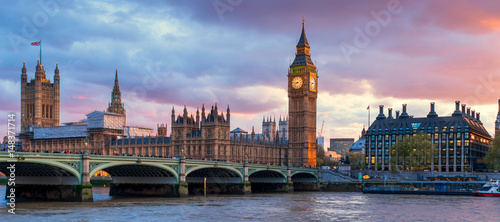 Aluminium Prints London London Westminster Bridge and Big Ben at Dusk