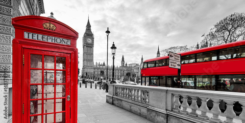 Montage in der Fensternische London London Red Telephone Booth and Big Ben Clock Tower