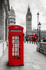 Fototapeta London Telephone Booth and Big Ben