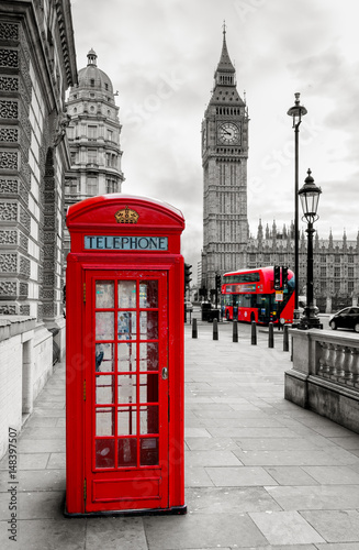 Obraz na plátně London Telephone Booth and Big Ben
