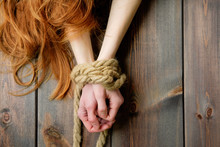 Redhead Skinny Woman Bounded W...