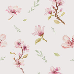 Panel Szklany Egzotyczne Watercolor seamless wallpaper with blossom cherry flowers, branc