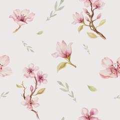 Fototapeta Egzotyczne Watercolor seamless wallpaper with blossom cherry flowers, branc