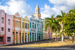 Colorful houses of Antenor Navarro Square at historic Center of Joao Pessoa - Joao Pessoa, Paraiba, Brazil