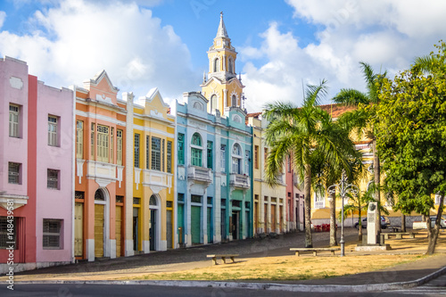 Aluminium Prints Brazil Colorful houses of Antenor Navarro Square at historic Center of Joao Pessoa - Joao Pessoa, Paraiba, Brazil