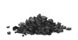 canvas print picture pile black coal isolated on white background