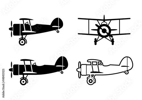 Photo Black aircraft icons on white background