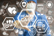 canvas print picture - Health Care Innovative Technologies Integrate. Innovation medicine concept. Modern Healthcare innovate information technology integration. Doctor touched icon health care text on virtual screen.