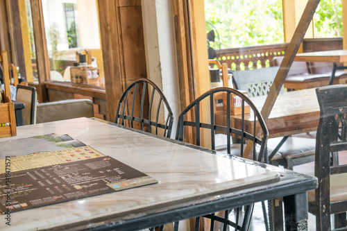 Foto op Canvas Trappen Selective focus chairs in restaurant
