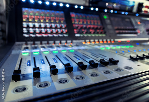 Fényképezés  control panel of the sound engineer with the mixers on the television studio