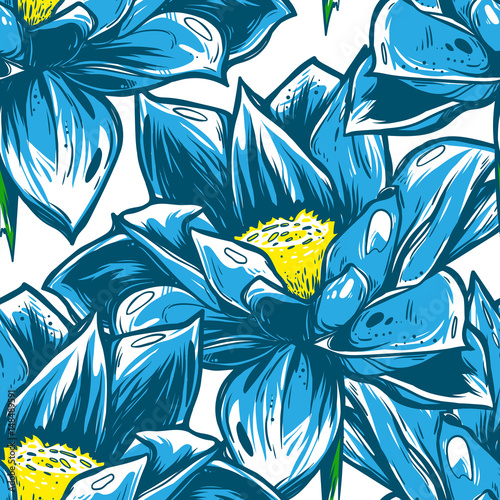 Tuinposter Vlinders Seamless pattern with blue lotus flowers. Blue lilies on a white background. It can be used as wallpaper, printing, wrapping, fabric or background for your blog and your design.