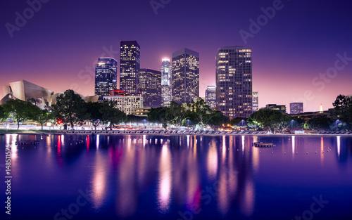 Staande foto Los Angeles Downtown skyscrapers Los Angeles California at night