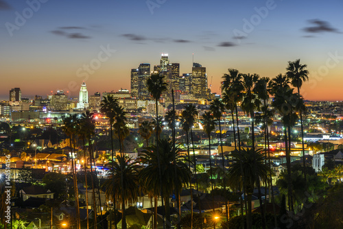 Poster Los Angeles Downtown Cityscape Los Angeles at sunset