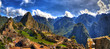 Colorful panoramic HDR image of Machu Picchu, Peru, South America - the lost city of the Inca on blue sky. Machu Picchu is UNESCO World Heritage Site, and One of the New Seven Wonders of the World.