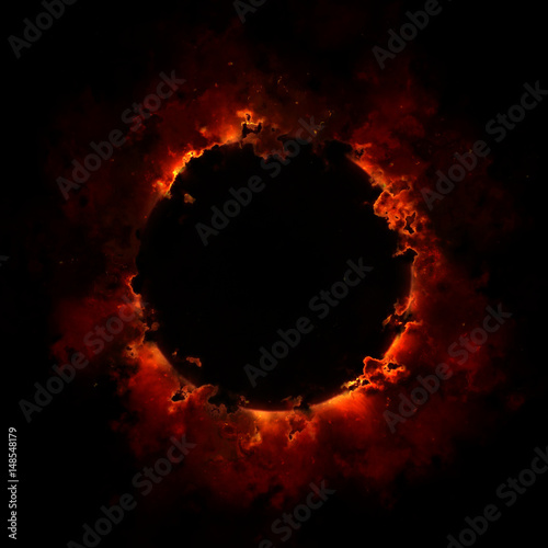 Fire And Smoke Ring Isolated On Black Background Poster Mural XXL