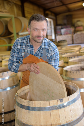 worker in the cooperage