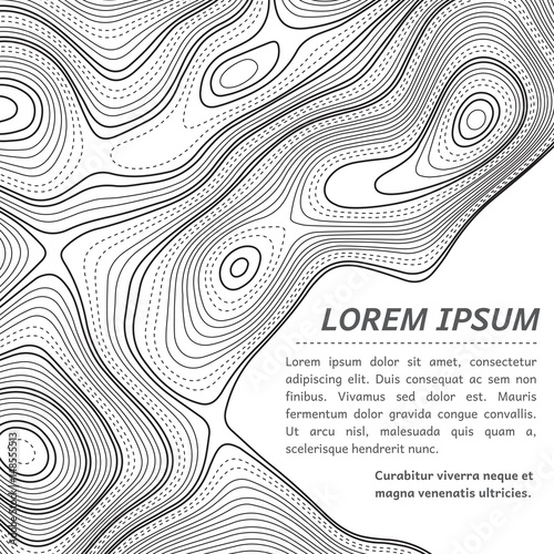 Abstract illustration of a topographic map outlines with blank