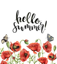 Watercolor Floral Card With Hello Summer Lettering. Hand Painted