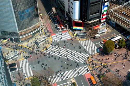 Plakat Tokio, Japonia widok Shibuya Crossing, jeden z najbardziej ruchliwych crosswalks w Tokio, Japonia.