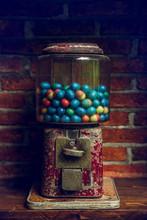 Close-up Vintages Eggs Slot Machine With Colorful Eggs, Vintage Background