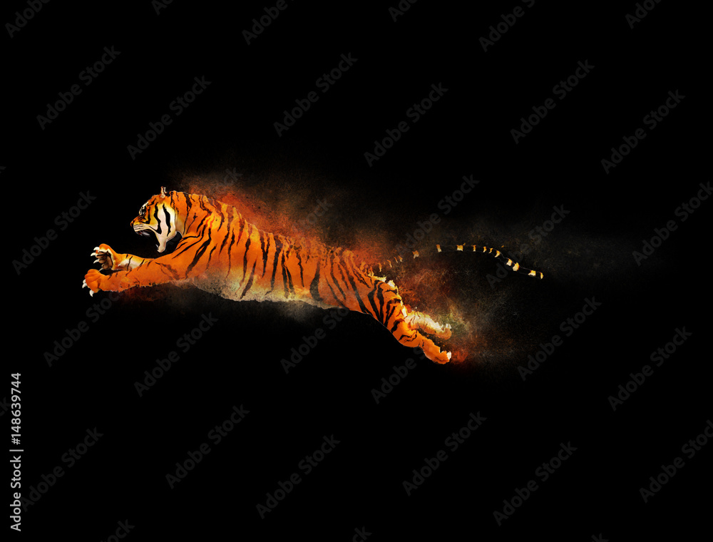 A tiger moving and jumping with dust particle effect on black background, 3d illustration
