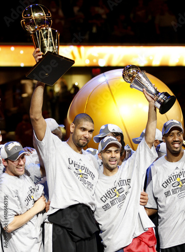 a8812b1f6bb6 San Antonio Spurs Tim Duncan holds the The Larry O Brien NBA Championship  Trophy and