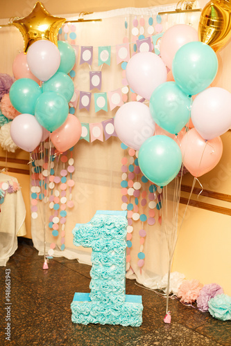 Birthday Party For Child One Years Old Pink Mint And White Colors