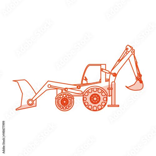Fotografie, Obraz  orange silhouette shading industrial machine excavator vector illustration
