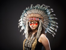 Native American Indian Chief War Bonner